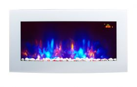 TruFlame 7 colour Side LEDs Wall Mounted Arched White Glass Electric Fire with Pebble Effect purple side leds