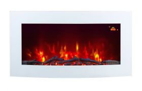 TruFlame 7 colour Side LEDs Wall Mounted Arched White Glass Electric Fire with Log Effect red side leds