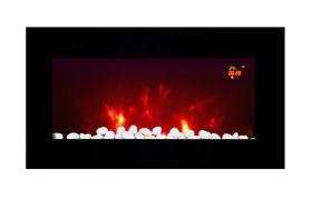 TruFlame LED Side Lit (7 colours) Wall Mounted Flat Glass Electric Fire with Log and Pebble Effect purple side leds