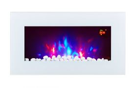 TruFlame LED Side Lit (7 colours) Wall Mounted Flat White Glass Electric Fire with Log and Pebble Effect flame colour 3
