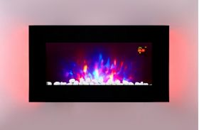 TruFlame LED Side Lit (7 colours) Wall Mounted Flat Glass Electric Fire with Log and Pebble Effect blue sides
