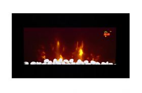 TruFlame LED Side Lit (7 colours) Wall Mounted Flat Glass Electric Fire with Log and Pebble Effect blue and logs
