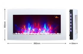 TruFlame 7 colour Side LEDs Wall Mounted Arched White Glass Electric Fire with Pebble Effect