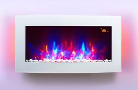TruFlame 7 colour Side LEDs Wall Mounted Arched White Glass Electric Fire with Pebble Effect fire off