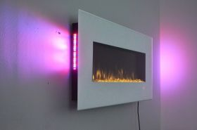 50inch White Wall Mounted Electric Fire with 10 colour Flames and side LEDs pink sides