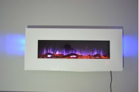 50inch White Wall Mounted Electric Fire with 10 colour Flames and side LEDs logs