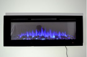 72inch large Black Wall Mounted Electric Fire with 3 colour Flames and can be inset logs and blue flames