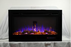 36inch Inset Black Wall Mounted Electric Fire with 3 colour Flames purples flames