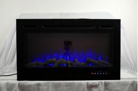 36inch Inset Black Wall Mounted Electric Fire with 3 colour Flames blue flames