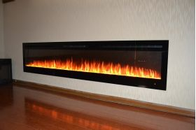 72inch large Black Wall Mounted Electric Fire with 3 colour Flames and can be inset crystals and orange flames