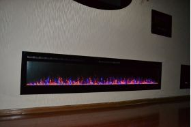 72inch large Black Wall Mounted Electric Fire with 3 colour Flames and can be inset crystals and purple flames