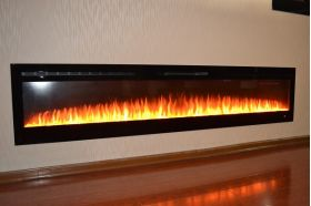 72inch large Black Wall Mounted Electric Fire with 3 colour Flames and can be inset orange flames