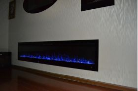 72inch large Black Wall Mounted Electric Fire with 3 colour Flames and can be inset blue flames