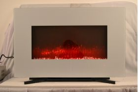 90cm White Wall Mounted Electric Fire with 10 colour Flames with stand