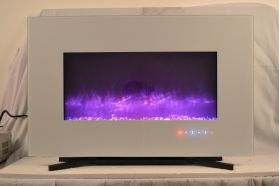 90cm White Wall Mounted Electric Fire with 10 colour Flames purple flames