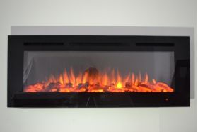 50inch Black Wall Hung Electric Fire with 3 colour Flames log and orangle flames