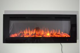 72inch large Black Wall Mounted Electric Fire with 3 colour Flames and can be inset logs and orange flames