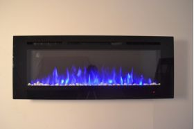 50inch Black Wall Hung Electric Fire with 3 colour Flames blue flames