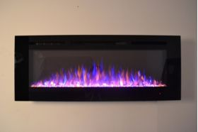 50inch Black Wall Hung Electric Fire with 3 colour Flames purple flames