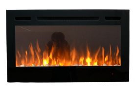 36inch Inset Black Wall Mounted Electric Fire with 3 colour Flames orange flames