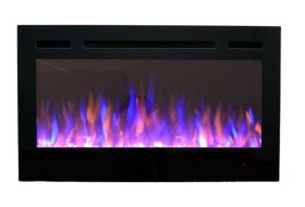 36inch Inset Black Wall Hung Electric Fire with 3 colour Flames purple flames