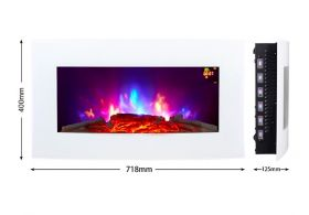TruFlame LED Side Lit (7 colours) Wall Mounted Arched Glass Electric Fire with Pebble Effect red side leds