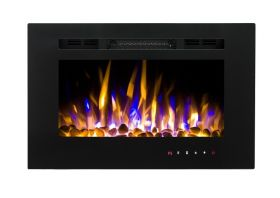 26inch Inset Black Wall Mounted Electric Fire with 3 colour Flames