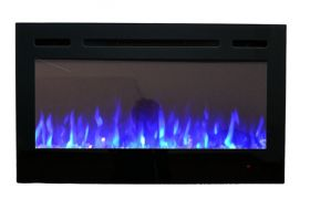 36inch Inset Black Wall Hung Electric Fire with 3 colour Flames blue flames