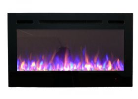 36inch Inset Black Wall Mounted Electric Fire with 3 colour Flames purple flames
