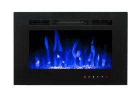 26inch Inset Black Wall Mounted Electric Fire with 3 colour Flames purples flames
