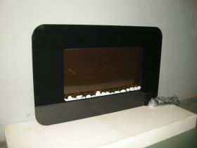 TruFlame Wall Mounted Flat Glass Electric Fire with Pebble Effect (90cm wide) fire off