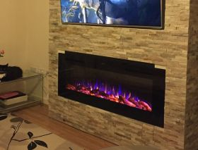 50inch Black Wall Hung Electric Fire with 3 colour Flames customers fire