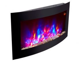 TruFlame Wall Mounted Arched Glass Electric Fire with Pebble Effect (88cm wide) 7 colour flames