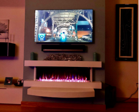 60inch White Wall Mounted Electric Fire with 10 colour Flames and mantel