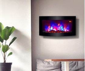 TruFlame wall mounted electric fire with logs colour flame 1