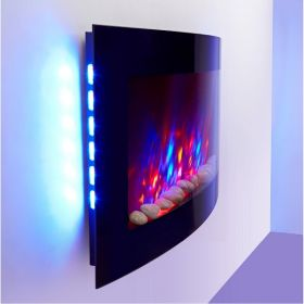 2018 NEW TruFlame 7 colour Side LEDs Wall Mounted Arched Glass Electric Fire with Pebble Effect blue colours