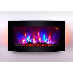 TruFlame Wall Mounted Arched Glass Electric Fire with Log Effect Red LEDs