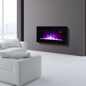 TruFlame LED Side Lit (7 colours) Wall Mounted Flat Glass Electric Fire with Log and Pebble Effect