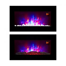 TruFlame LED Side Lit (7 colours) Wall Mounted Flat Glass Electric Fire with Log and Pebble Effect customer image