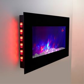 TruFlame LED Side Lit (7 colours) Wall Mounted Flat Glass Electric Fire with Log and Pebble Effect yellow side leds