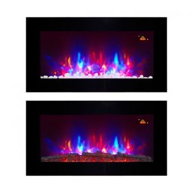 TruFlame Wall Mounted Flat Glass Electric Fire with Pebble Effect (90cm wide square corners) new remote