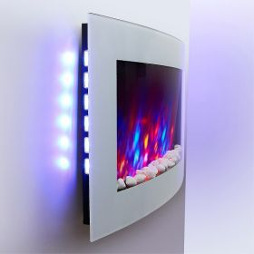 TruFlame 7 colour Side LEDs Wall Mounted Arched White Glass Electric Fire with Pebble Effect side view fire off