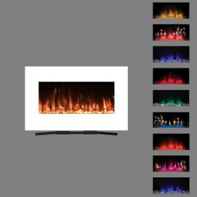 90cm White Wall Mounted Electric Fire with 10 colour Flames orange flame