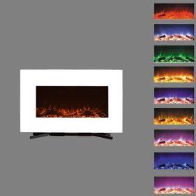 90cm White Wall Mounted Electric Fire with 10 colour Flames logs
