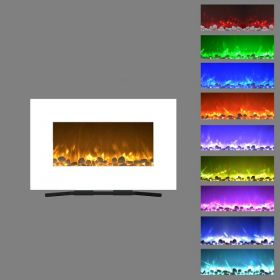 90cm White Wall Mounted Electric Fire with 10 colour Flames light orange
