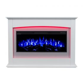 35inch White Wall Mounted Electric Fire with 10 colour Flames and mantel