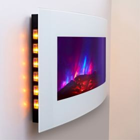 TruFlame LED Side Lit (7 colours) Wall Mounted Arched Glass Electric Fire with Pebble Effect yellow side leds
