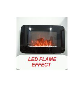 TruFlame Wall Mounted Flat Glass Electric Fire with Pebble Effect (90cm wide) LED Flames