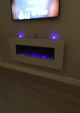 50inch White Wall Mounted Electric Fire with 10 colour Flames and side LEDs orange flames