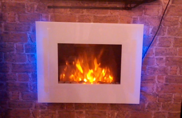 TruFlame LED Side Lit (7 colours) Wall Mounted Flat White Glass Electric Fire with Log and Pebble Effect on wall